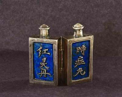 1930's Chinese Sterling Silver Enamel Double Pill Snuff Bottle with Calligraphy