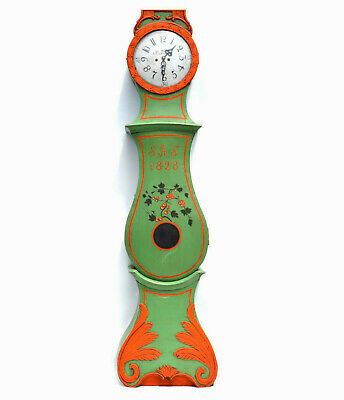 Antique Swedish Mora Clock A.Anderson 1828 Green Orange Carved in Working order