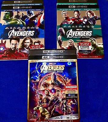 Avengers Age Of Ultron Infinity War 4K Ultra TRILOGY RARE SLIPCOVERS NO DIGITALS