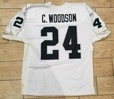 45e19e2c CHARLES WOODSON MENS 50 Sewn NFL Jersey Oakland Raiders On Field Reebok  stitched