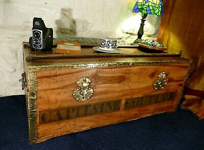 Large Banded Blanket Box Chest Steamer Trunk Coffee Table Brass Studs