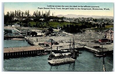 Early 1900s Puget Sound Navy Yard, Dry Dock, Golf Course, Bremerton, WA Postcard