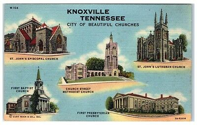 Mid-1900s City of Beautiful Churches, Knoxville, TN postcard