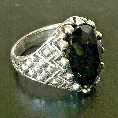 Medieval ROMAN Silver Bronze RING AMAZING Black Stonne