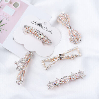 Headwear Accessories Cute Hairpin Pearl Barrettes Hairgrip Crystal Hair Clip