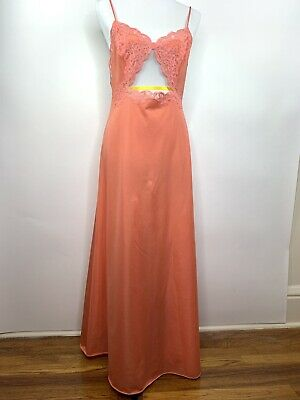 Vintage Vanity Fair Sexy Gown Qiana Nylon Sz 36 Lace Cut Out 1970s 1980s