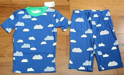 Hanna Andersson 130 140 Boys Pajamas Long John Organic Cotton Cars Navy Blue NEW