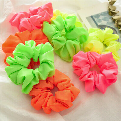 Fluorescent Color Scrunchies Elastic Hair Ties Ponytail Holder Bright Hairband