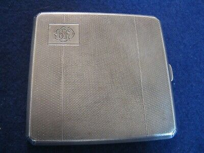 """ART DECO STERLING SILVER CIGARETTE CASE 1936 from BIRMINGHAM 3 5/16"""" by 3 3/16"""""""