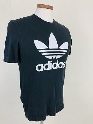 Adidas T-Shirt I11 Men Medium Black Big Trefoil Logo VIntage 90's Short Sleeve