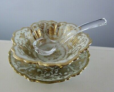 Antique 3 Pcs Nippon Hand Painted Decorated Condiment Bowl Under Plate Spoon