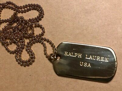 Vintage Polo Ralph Lauren Dog Tags Necklace - Brass Gold - Men's 1990s