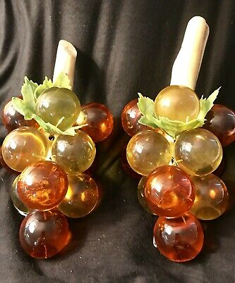 Vintage Mid Century 1960's Lucite Grape Cluster w/Driftwood Hand-Wired. Set Of 2