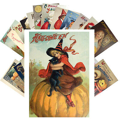 Postcards Pack [24 cards] Halloween Witch Pin Up Vintage Greeting Cards CF7013