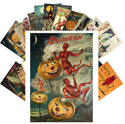 Postcards Pack [24 cards] Halloween Witch Pin Up Vintage Greeting Cards CF7014