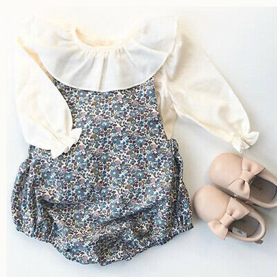 UK Autumn Newborn Kid Baby Girl Long Sleeve Clothes Floral Romper Cotton Outfits
