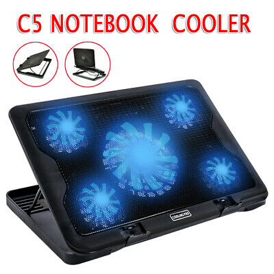 """Adjustable Height Laptop Notebook Cooling Pad 5 Fans LED Fit 7""""-17"""" AU STOCK"""
