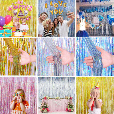 Glitter Foil Fringe Tinsel Shimmer Curtain Door Wedding Birthday Party Decor