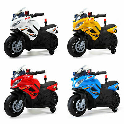 6V Kids Ride On Police Motorcycle Toy Battery Powered Electric 4 Wheels
