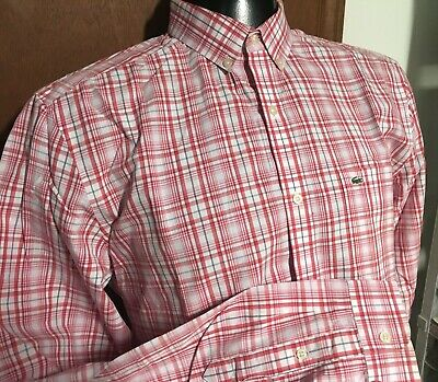 96c75ac538 LACOSTE BUTTON DOWN Shirt Red Blue White Checkerboard XXL Size 45 ...
