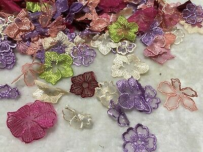 10pcs Random Colour Embroidery Lace Organza Flowers Appliques Trim Sewing DIY
