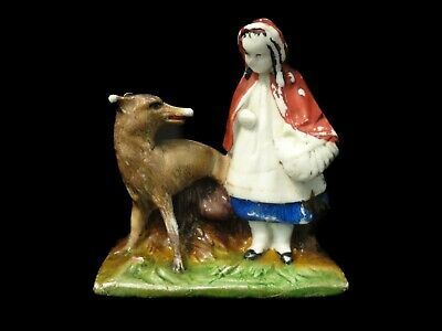 Antique Little Red Riding Hood & Wolf Figurine, Possibly Staffordshire or German