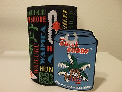 Hawaii Chill Buddy koozie coozie black round foam Keep cool with a little aloha