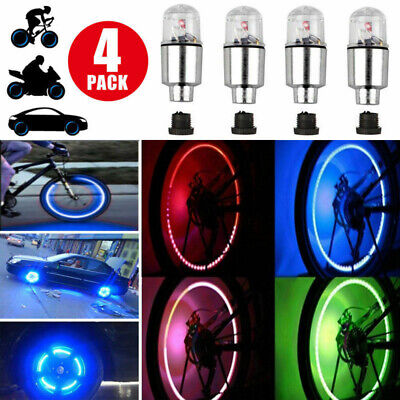4Pack LED Wheel Tire Tyre Valve Caps Colorful Neon Light For Car Motorcycle Bike