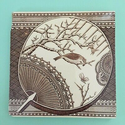 Original Ceramic Antique Washstand Fireplace Vintage Tile Victorian Fan & Bird