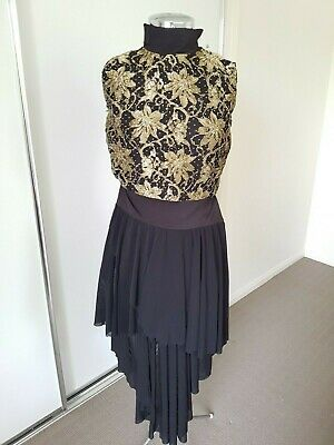 Homemade: Ladies Size 10 - Black with Gold lace Dance Costume