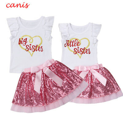 Kids Baby Girl Matching Outfit Clothes T-shirt Tops+Sequins Tutu Dress 2PCS Set