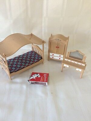 Vintage Minature Doll House Furniture Made In Japan Bed Wardrobe dressing table
