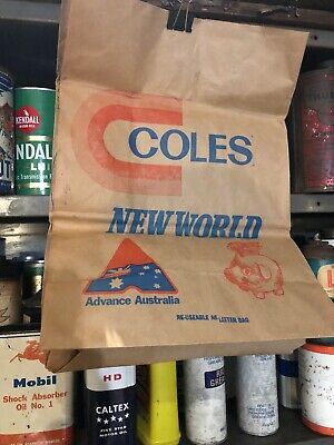 Coles New World Vintage Shopping Paper Bag Scouts