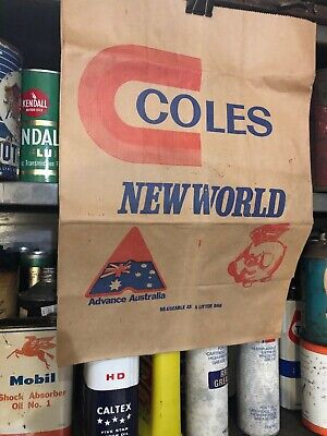 Coles New World Vintage Shopping Paper Bag Apex
