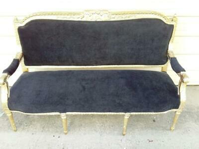 French Late 19Th Century Louis Xv Black Upholstered Gold Painted Salon Sofa