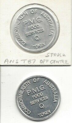 2 Common of Aust PMG Food Services Q Tokens 31mm Rd Alum Mis-struck & Normal