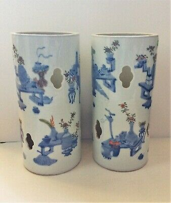 Large Pair Chinese Antique Famille Rose Porcelain Hatstands Vase Guangxu 19C
