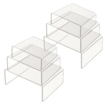 Clear Acrylic Risers Shelf Showcase Jewelry Makeup Products Display 3 Sizes
