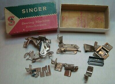 Vintage SINGER Sewing Machine Attachments in original box made in Great Britain