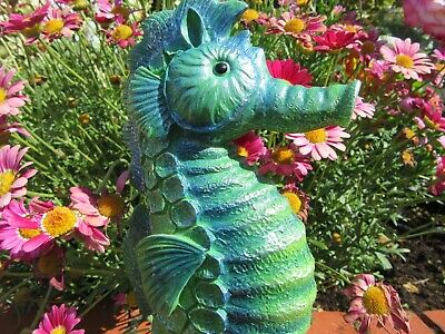 Seahorse Garden Ornament - Highly Detailed - Green Seahorse Ornament - New