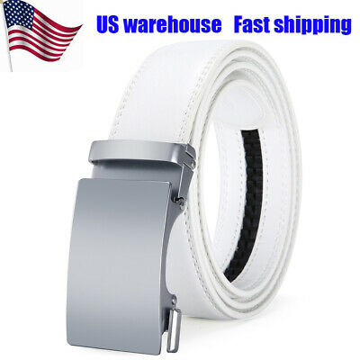 Fashion Mens Leather Belts Automatic Buckle White Genuine Ratchet Waistband