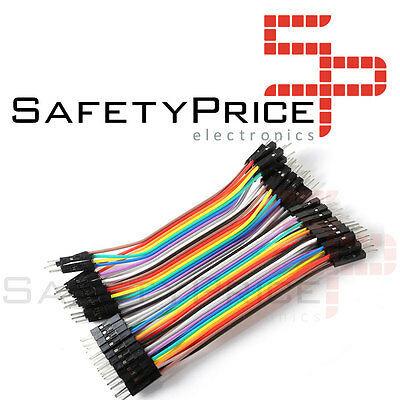40 CABLES MACHO MACHO 10cm jumpers dupont 2,54 arduino pic protoboars