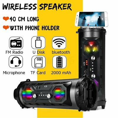 LED bluetooth Speaker Wireless FM Stereo Loud Bass Subwoofer Aux USB TF Outdoor