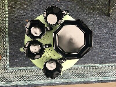 Vintage Mod Style Arcoroc France Black Glass Octime Octagon Coffee Cups & Bowls