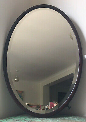 c1900 Large Antique Victorian Oval Bevelled Mirror, Hallway Bedroom Cloakroom