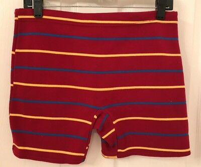 Vintage 1950's mens swim trunks, dark red or maroon with stripes