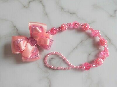 Pink Shamballa Heart Letter Personalised Romany Crystal Bling Baby Dummy Clip