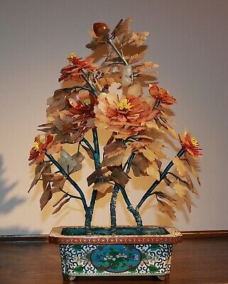 Antique Chinese Jade Bonsai Tree in Cloisonne Flower Pot 663A