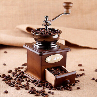 Wooden Manual Coffee Grinders Hand Crank Coffee Mill With Grind Settings