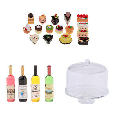1:12 Dollhouse Miniature Dessert Cake Stand with Cakes Bottles Supplies Accs